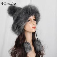9b8533fe51f Autumn Winter Faux Fox Fur Caps for Women Girls Fur Ball Knitting Bomber  Hats Headband Soft Warm Beanies Caps Female Hats Gift