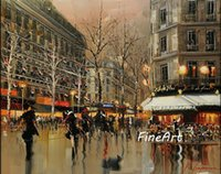 handmade canvas high qulaity impression paris street scene o...