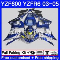 Lichaam voor Yamaha YZF-600 YZF-R6 03 YZF R6 2003 2004 2005 Carrosserie 228HM.36 YZF 600 R 6 YZF600 YZFR6 Stock Blue Go !!! 03 04 05 FUNLINGS KIT