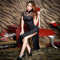 Vêtements ethniques 2021 Dentelle Sexy Cheongsam Long Black Noir Qipao Robe Chinoise Robes de fête traditionnelle Vestido Robe Oriental Chinoise Qi Pao