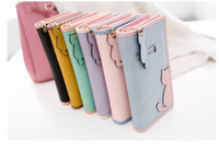 Fashion long PU cartoon cat zipper women wallet purse Lady C...