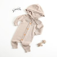 Baby clothes romper solid color long sleeve hooded romper ba...