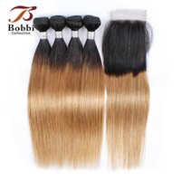 8A Ombre Honey Blonde Hair Bundles with Closure T 1B 27 Braz...