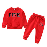 Baby boys Casual sportswear outfits Pink letter top+ pants 2p...