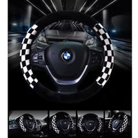Envío gratis coche universal de cuero de gamuza volante cubre la cubierta del volante de felpa traje suave para 36 cm a 38 cm volante