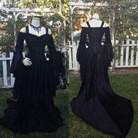 Vintage Black Gothic Wedding Dresses A Line Medieval Off the...