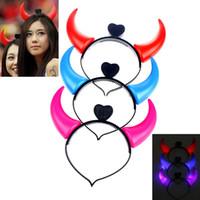 Halloween LED Light OX Horn Hair Neon Glow W Dark Włosy Hoop Headwear Akcesoria Kostium Hurtownie