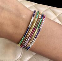 Rainbow CZ Теннисный браслет для женщин Новый дизайн мода модный ювелирные изделия Яркие красочные многоцветные каменные модные ювелирные изделия