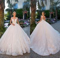 2018 новый старинный шариковый платья свадебные платья с прозрачными шеями рукава рукава примиренные кружева свадебные платья Vestidos арабские свадебные платья