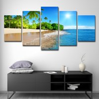 Toile HD gravures Affiche Home Decor 5 Pièces Tropical Beach Soleil Palmiers Peintures Mur Art Salon Photos