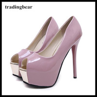 Sexy red bottom shoes pink patent PU leather peep toe platfo...