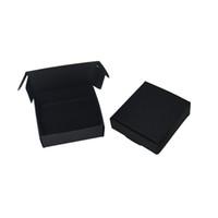 50 Unids / lote 6.5 * 6 * 2 cm Caja de Regalo Para Joyería Perla Dulces Caja de Almacenamiento de Jabón Hecha A Mano Caja de Papel Kraft Negro Para Panadería Pastel de Galletas de Chocolate