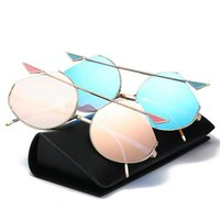 Cat Eyes Dazzle Color Sunglasses Metal Sun Glasses Mirror Le...