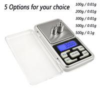 Mini-Taschenskala 200g 0.01g Elektronische digitale Taschenwaagen Schmuck Diamant Kräuterbilanzskala LCD-Anzeige 100g 300g 500g 0.1g