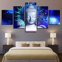 Modulare HD stampato decorazioni per la casa immagini 5 pezzi astratta Buddha Canvas Painting For Living Room Pianeta Poster Wall Art Framework