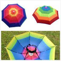 야외 인기있는 접을 수있는 태양 레인보우 우산 모자 골프 낚시 야영 그늘 비치 모자를 쓰는 모자 우산 성인 어린이
