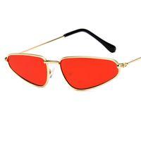 Moda Bağbozumu Küçük Üçgen Güneş Kadınlar Için Yeni Kedi Göz Güneş Gözlüğü Metal Çerçeve Shades 2018 UV400 Oculos Y265