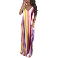 Holiday Summer Beach Maxi Dress Deep V Collar Multi Color Ch...