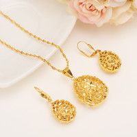 Ethiopian set hollow flower Necklace Pendant Earring Set Joi...