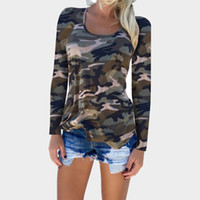 2018 Camouflage Print Frauen Langarm Slim T-Shirt Mode Dame Sexy Tops Armee Stil Casual Weibliches T-Shirt