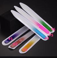 Cristal de uñas lima de uñas de cristal archivos en caso de PVC manga herramienta Longitud de las coloridas del esmalte Cuidados 5,5 pulgadas