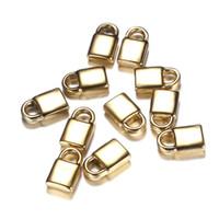 100 UNIDS 10 * 16mm Nuevo Alto Pulido Oro Plata Color Acero Inoxidable Único Square Lock Charms para Joyería DIY Fabricación de Accesorios Hallazgos