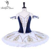 Vestido de rendimiento de cascanueces azul marino mujer con tul blanco niñas por encargo profesional panqueque tutú niño BT9205