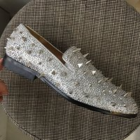 New mens spikes oxfords, design brand sliver rhinestones crys...