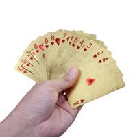 24 K Folha de Ouro Banhado A Poker Cartas de Baralho de Karat Folha De Ouro Banhado A Pôquer Jogo de Baralho US Dollor coleção