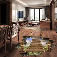 Venta al por mayor 3D piso pegatinas de pared puente extraíble calcomanías murales de vinilo arte sala de estar decoración para el hogar envío gratis