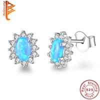 BELAWANG Brand Sparkling Oval Stud Earrings 925 Sterling Sil...
