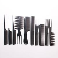 10pcs / Set professionnel brosse à cheveux peigne salon de coiffure barber anti-statique peignes à cheveux brosse à cheveux coiffure peignes Soins des cheveux Styling outils