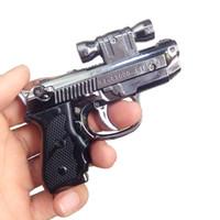 créatif 2 métal pistolet in1 Gun jet revolver argent briquet torche allume-cigare coupe-vent gaz butane cadeau Rechargeables toys Gunsight laser