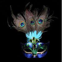 Máscara do partido Mulher Masquerade Feminino Máscaras Sexy Penas de Pavão Meia Máscara de Rosto Partido Cosplay Halloween Máscara de Bola de Veneza