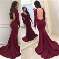 Sexy Open Back Burgundy Long Sleeve Evening Dresses 2018 Cou...
