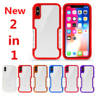 iPhone x 8 Transparent Shockproof Case 2 in 1 PU + TPU Clear ...