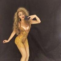 DJ Songbird Sparkly Altın Püskül Rhinestones Bodysuit Performans Sahne Dans Giyim Seksi Gece Kulübü Balo Dans Kostüm Tek parça Kıyafet