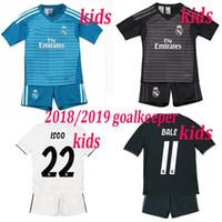 New Arrival. 2019 Real madrid Kids goalkeeper white black soccer Jerseys ... 7d9b2ec9e