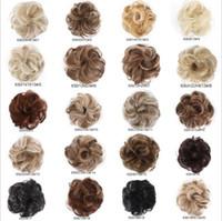 Toptan Yeni Gelmesi Sentetik Saç Bun 35g Elastik Curl Saç Scrunchie Yaz Sıcak Satış Kadınlar Sahte Saç Bun WQ541G