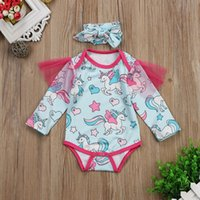 Baby unicorn print romper Girls Shoulder mesh Jumpsuits 2018...