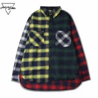 Männer Lässige Hemden Großhandel-Aelelcric Herren Farbblock Patchwork Plaid Langarm Hip Hop Mantel Hemd Männlich Kleid SNL790