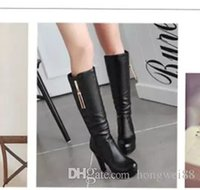 Knee boots 2017 new high- heeled female Knight high boots wit...