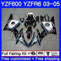 Corpo per Yamaha YZF600 YZF R6 03 04 05 YZFR6 03 Bodywork 228hm.1 YZF 600 R 6 YZF-600 YZF-R6 BLU BLUE NERO NUOVO BASSE 2003 2004 2005 Kit carenti