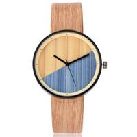 Frauen Holz Textur Uhr Nachahmung Holz Vintage Leder Quarzuhr LXH
