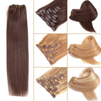 Straight Human Hair Clip In Extensions 8 Pcs set Brazilian V...