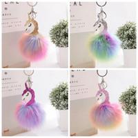 Pompom الحلي بيغاسوس يونيكورن بوم بوم حقيبة المفاتيح سحر الحيوان الفراء الكرة مفتاح سلسلة أطفال مجوهرات