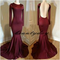 Maroon Evening Wear Dresse 2019 de manga larga Sexy Low Open Back modesto Arabia Saudita para mujeres vestido formal Prom Vestidos Robe De Soiree