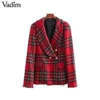 Vadim mujeres a cuadros con cuello de muesca chaqueta de tweed blazer doble  botonadura borla dobladillo 045c87960541f