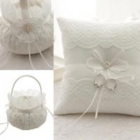 Lace кольцо предъявителя подушку кольцо Подушки Цветочные корзины наборы Венчание Pearls торт подушку цветок невесты кольцо коробка бесплатная доставка