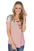 Stilvolle Damen-T-Stück Sommer mit kurzen Ärmeln T-Shirt mit Tasche Floral Striped Print Top Kleidung S-2XL Größe